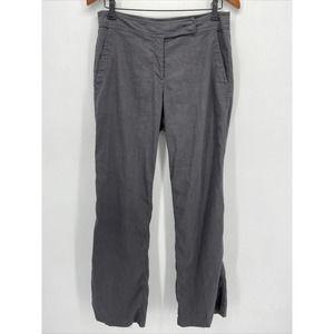 Eileen Fisher Gray Linen Blend Straight Pants